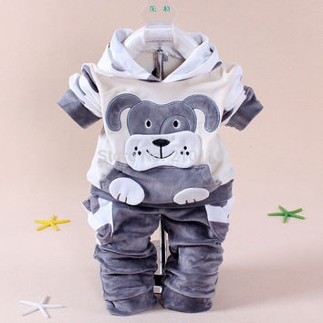 spring autumn new children set baby boy clothing sets suit cartoon dog and cow velvet hoodie sweater set kids clothes set = 1931787396