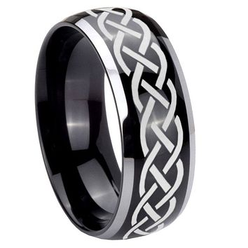 8mm Celtic Knot Dome Glossy Black 2 Tone Tungsten Mens Wedding Ring