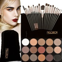 1 Set  Arrival 15 Colors Eyeshadow Palette 20 Pcs Makeup Brushes Beauty Makeup Set With Bag