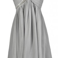 Lily Boutique Cute Grey Dress, Grey Bridesmaid Dress, Grey Strapless Dress, Grey Cocktail Dress, Grey Beaded Dress, Grey Embellished Dress, Grey Party Dress, Pale Grey Dress Lily Boutique