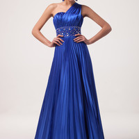 Blue One Shoulder Beaded Pleated Maxi Dress