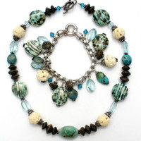 Sterling Silver Bead Necklace Bracelet Set Turquoise Wood, Crystal, Art Glass