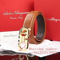 FERRAGAMO HIGH QUALITY LEATHER EMBOSSING MAN WOMEN BELT