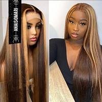 Straight 180% Density  Honey Blonde Lace Front Wigs For Black Women