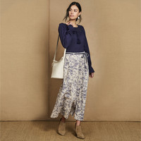Button Front Floral Toile Print Linen Skirt