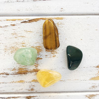 Abundance & Success * 4 Piece Stone Set * Bloodstone, Tiger Eye, Citrine & Aventurine * Reiki Charged