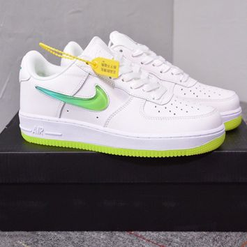 """""""Nike Air Force 1"""" Women Casual Fashion Crystal Jelly Gradient Hook Low Help Plate Shoes Sneakers"""