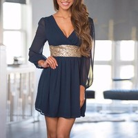 Women's Fancy Navy with Gold Sequin Accent Chiffon Night Out Dress