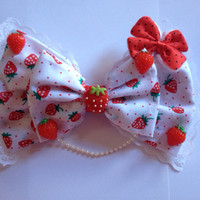 Giant Sweet Lolita Strawberry Hair Bow - Large Hairbow Strawberries Kawaii Fairy Kei Cosplay Lace Pearls Decora Decoden Cute Kitsch Gigantic