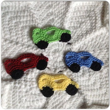 Race Car Appliques Embellishments Set of 4 Baby Boy Motifs, Apple Red, Sunshine Yellow, Neon Green, and Country Blue