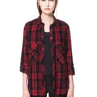 Red and Navy Long Sleeve Check Shirt