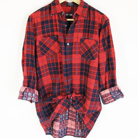 Vintage Flannel Shirt -- 90s Flannel -- Red & Blue Plaid -- Long Sleeve Button Up Work Shirt -- Soft Thin Flannel - Unisex Mens Womens S / M