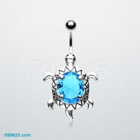Turtle Shine Belly Button Ring