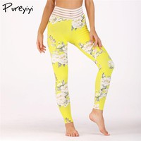 Women Yoga Leggings Sexy Floral Printed Leggings With Striped Waistband Back Pocket Breathable Workout Fitness Gym Leggings