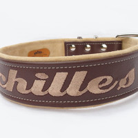 Leather dog collar Personalized 2 inch.  Sizes from 18-26 inches by Ruggit Collars