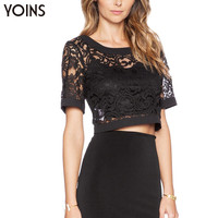 YOINS 2016 New Woman Fashion Lace Crop Top V Backless Short Tops Ladies Sexy Hollow Out Party Night Club Wear Brand Clothing
