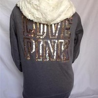 NEW Victoria's Secret LOVE PINK Bling Sequin Fur Lined Jacket Hoodie Small