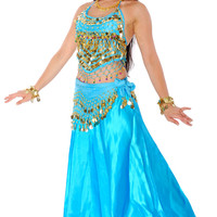 6-Piece Princess of Arabia Belly Dancer Costume in Turquoise and Gold