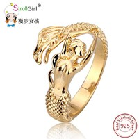 2018 New Arrival Authentic 925 Sterling Silver Mermaid Gold color Adjustable Open Ring Women Wedding silver ring Jewelry Gifts