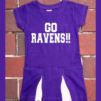 Baltimore Ravens Go Ravens Purple Cheerleader Toddler dress. Football. Raven. Cheer. This Girl. 2T, 4T, 5/6T. Children.