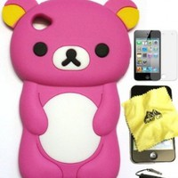 Bukit Cell Hot Pink bear 3D Cartoon soft silicone skin case cover for IPod Touch 4/4G/4th generation.