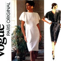 1980s Evening Dress Pattern Uncut Bust 34 36 38 Givenchy Vogue Paris Original 2303 Flutter Sleeve Cocktail Womens Vintage Sewing Patterns