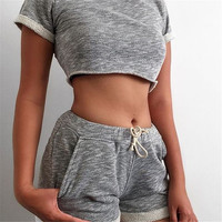 2017 Summer Women Sets Cropped Tops Hot Shorts Set Femme Two Piece Set Women Tracksuit Cotton Blend T shirts Shorts