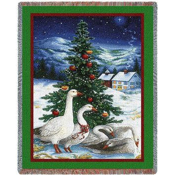 GOOSE CHRISTMAS  AFGHAN THROW BLANKET