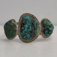 Vintage Old Dead Pawn Native American Sterling Silver & Turquoise Triple Stone Cutout Cuff Bracelet