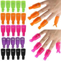 10Pcs 7 color Plastic Acrylic Nail Art Soak Off Clip Cap UV Gel Nail Polish Remover