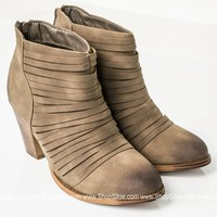 Burnt Distressed Strappy Booties