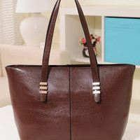 Casual Leather Tote Shoulder Bag