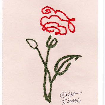 Blank Hand Embroidered Rose-Red-Pink-Yellow-Lavender Gift Greeting Note Thank-you Valentines Day Card w-Envelope MANY COLORS-BUY3GET1FREE