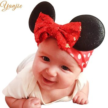 Minnie Mouse Ears Headband For Summer Girls Glitter Sequin Bow Hair Band Kids Birthday Party Padded Ears Hair Accessories