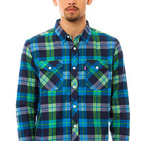 Mishka The Cabin Fever Flannel Buttondown in Ocean Blue