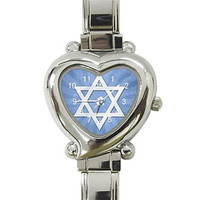 Star of David in Blue and White on a Silver Heart Charm Watch...NEW