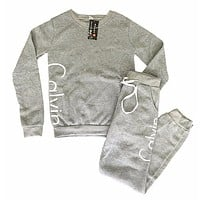 """""""Calvin Klein"""" Print Round neck Long-sleeves Pullover Tops Pants Two-Piece Set"""