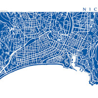 Nice Map Art - France Poster Print