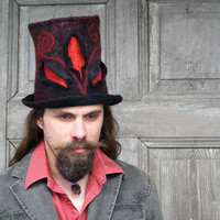 Unique fancy felted top hat, cylinder, hight hat in black, red and gold with 3D elements. Unisex hat.OOAK