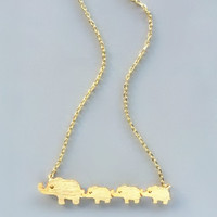 The Adorable Elephant Family Necklace