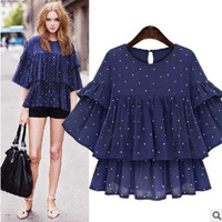 2016 Trending Fashion Summer Women Round Necked Ruffle Sleeve Polka Dot Top T-Shirt Top