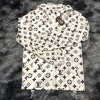 LV LOUIS VUITTON light luxury full printed hooded thin single layer sun protection clothing