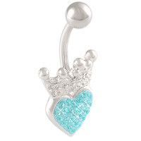 Girls Crown Heart Non-Dangle Aquamarine Crystal Belly Button Ring [Gauge: 14G - 1.6mm / Length: 10mm] 316L Steel Casting & Crystal