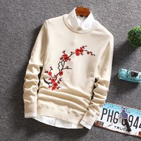 BKTrend 2017 New Autumn Fashion Sweater Men Long Sleeve Slim Fit Floral Printed Mens Christmas Sweaters And Pullovers Men