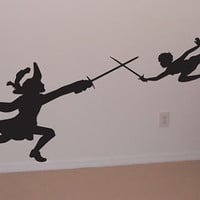Wall Decal, Peter pan, Captain hook, Wendy, Disney, lost boys, room decor, birthday gift,  by OTRengraving on etsy