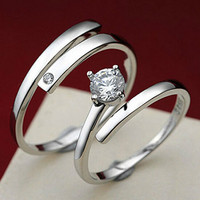 New Brand Silver Plated Rings For Women bijoux Fashion Crystal Wedding Jewelry anel masculino Couple Rings For Lovers