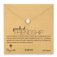 Dogeared, Large Pearls of Friendship White Pearl Necklace, Gold Dipped - 18 inch