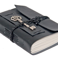 Faux Leather Wrap Journal with Key Bookmark - Choice of 7 colors - 2 paper options