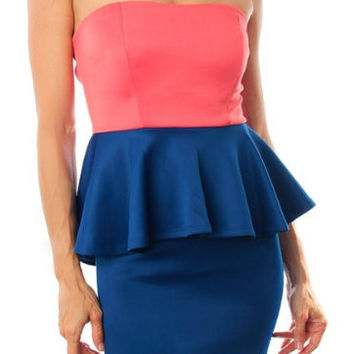 Strapless Open Back Peplum Dress in Coral & Blue