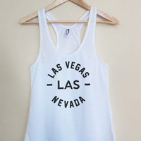 LAS - Las Vegas Nevada - Light Weight White Racerback Womens Tank Top - Sizes - Small Medium Large
